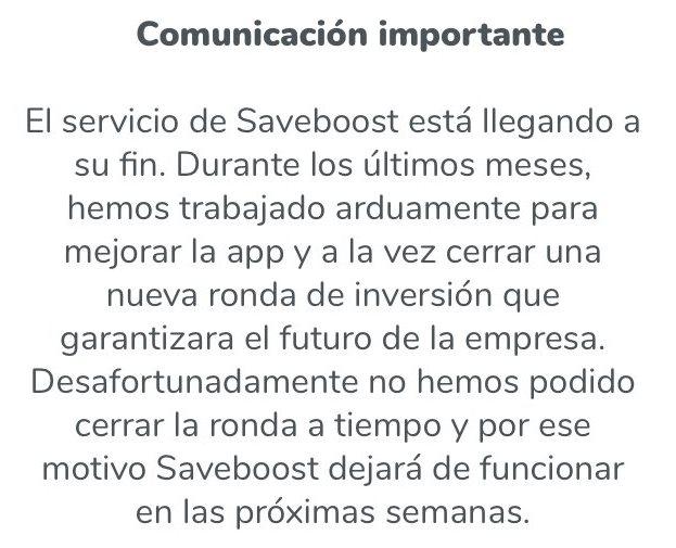 Comunicado Saveboost