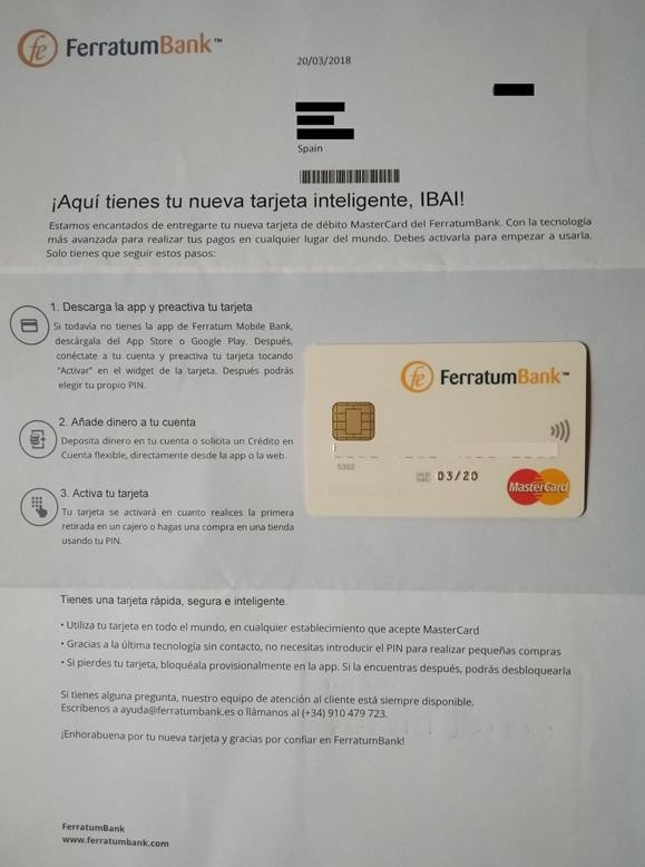 carta tarjeta Ferratum