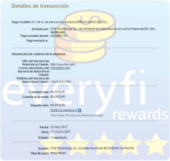 Everyfi Rewards comprobante