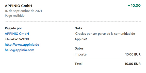 Comprobante de 10€ de PayPal