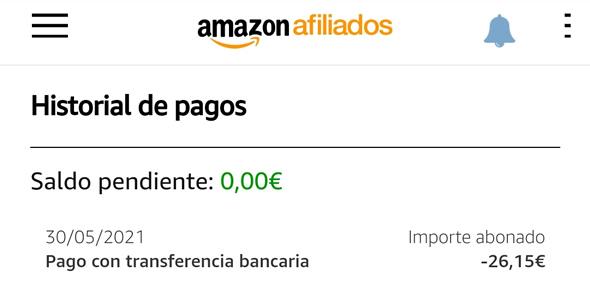 Historial de pagos de Amazon