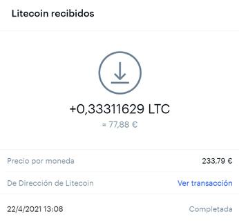 Litecoins recibidos