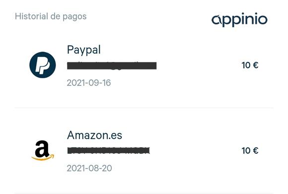 Historial de pagos: Paypal y Amazon