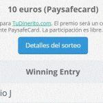 Ganador del sorteo de 10€ Paysafecard