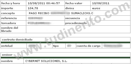 Transferencia bancaria sumaclicks for Transferencia bancaria