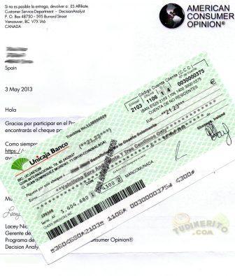 Carta y cheque