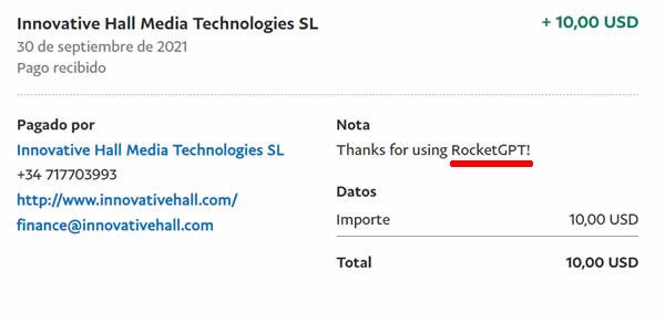 Prueba de pago RocketGPT